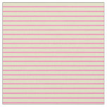 [ Thumbnail: Pale Goldenrod & Hot Pink Colored Stripes Fabric ]