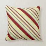 [ Thumbnail: Pale Goldenrod, Light Slate Gray, and Maroon Lines Throw Pillow ]