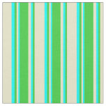 [ Thumbnail: Pale Goldenrod, Lime Green & Cyan Colored Lines Fabric ]