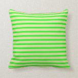 [ Thumbnail: Pale Goldenrod & Lime Stripes Throw Pillow ]