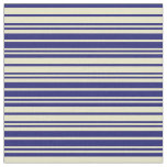 [ Thumbnail: Pale Goldenrod & Midnight Blue Pattern of Stripes Fabric ]