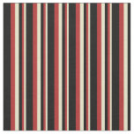 [ Thumbnail: Pale Goldenrod, Red & Black Lines/Stripes Pattern Fabric ]