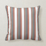 [ Thumbnail: Pale Goldenrod, Red, Gray, White & Maroon Pattern Throw Pillow ]