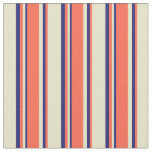 [ Thumbnail: Pale Goldenrod, Red & Midnight Blue Colored Lines Fabric ]