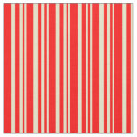[ Thumbnail: Pale Goldenrod & Red Striped Pattern Fabric ]