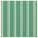 [ Thumbnail: Pale Goldenrod & Sea Green Colored Stripes Fabric ]