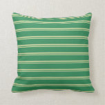 [ Thumbnail: Pale Goldenrod & Sea Green Colored Stripes Pillow ]
