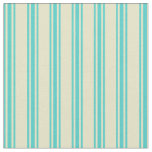[ Thumbnail: Pale Goldenrod & Turquoise Lined/Striped Pattern Fabric ]