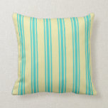 [ Thumbnail: Pale Goldenrod & Turquoise Lined/Striped Pattern Throw Pillow ]