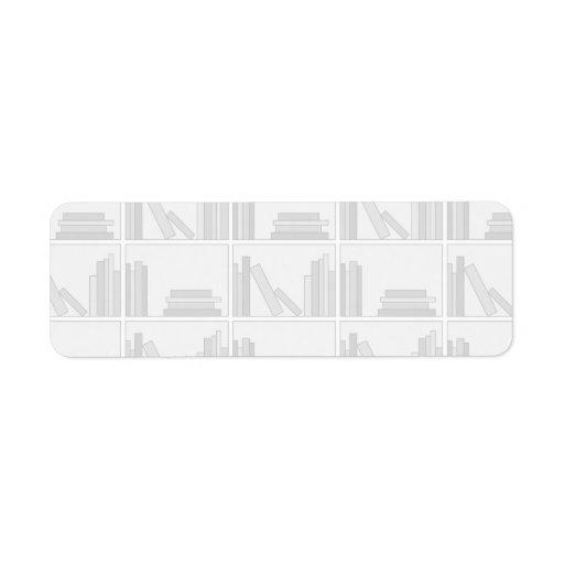 Pale Gray Books on Shelf. Custom Return Address Label