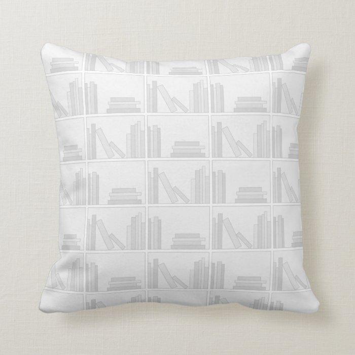 Pale Gray Books on Shelf. Throw Pillow