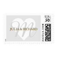 pale gray family initial + names wed love monogram postage