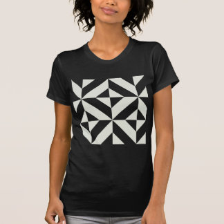 Pale Gray Geometric Deco Cube Pattern T-Shirt