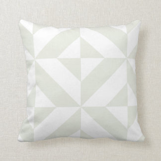 Pale Gray Geometric Deco Cube Pattern Throw Pillow