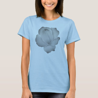 Pale gray rose on blue T-Shirt