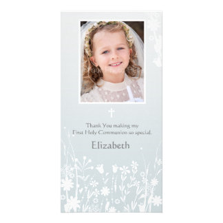 Pale Gray, White Flowers, Religious Photo Card