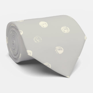 Pale Gray wih Pale Yellow Dots Neck Tie