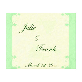 Pale Green and Cream Scroll and Flower Wedding Canvas Print