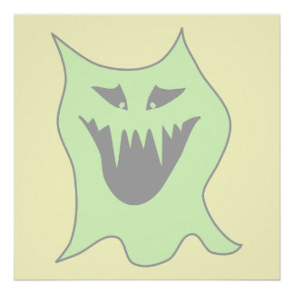 Pale Green and Gray Monster Cartoon Posters