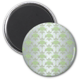 Pale Green and Silver White Damask Pattern Refrigerator Magnet