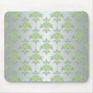 Pale Green and Silver White Damask Pattern Mouse Pad
