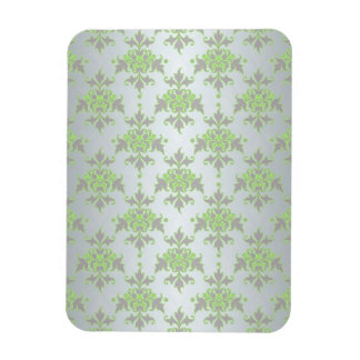 Pale Green and Silver White Damask Pattern Magnet