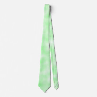 Pale Green and White Abstract Clouds Pattern Neck Tie