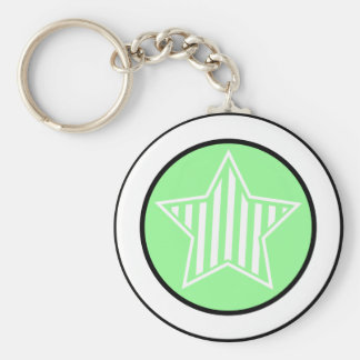 Pale Green and White Star Keychain