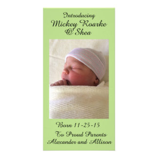 Pale Green Baby Announcement 8x4