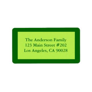 Pale green border custom address label