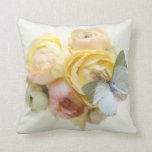 pale green butterfly on flowers throw pillow