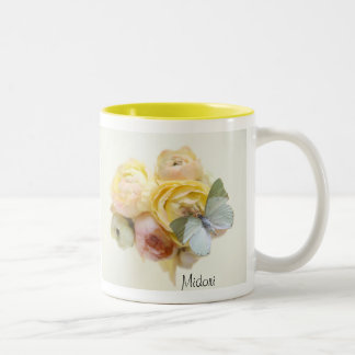 pale green butterfly on flowers two-tone mug