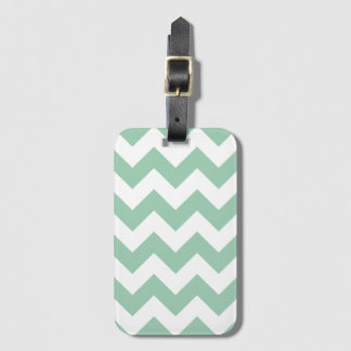 Pale Green Chevron Zigzag Baggage Labels Luggage Tag