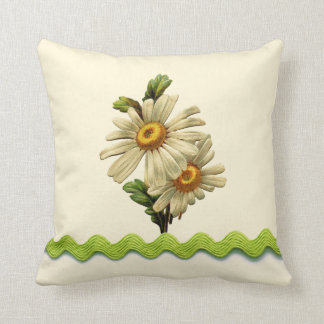 Pale Green Daisy Throw Pillow