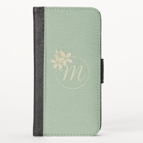Pale Green Faux Leather Daisy Monogram Phone Case
