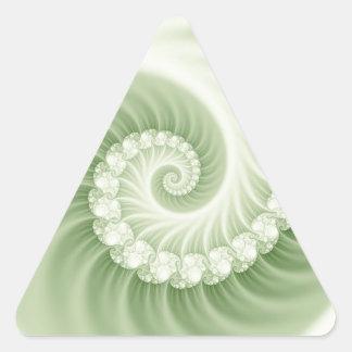 Pale green fossil effect 3D fractal. Triangle Sticker