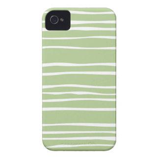 Pale Green Funky Stripe Pattern Iphone 4S Case
