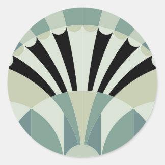 Pale Green Geometric Lines Classic Round Sticker