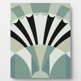 Pale Green Geometric Lines Photo Plaque