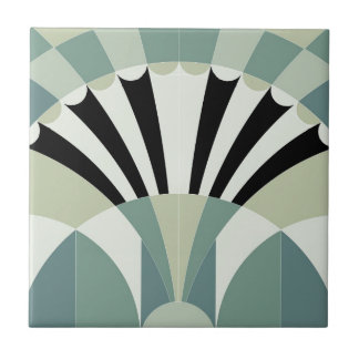 Pale Green Geometric Lines Tile