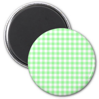 Pale Green Gingham 2 Inch Round Magnet