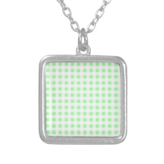 Pale Green Gingham Silver Plated Necklace