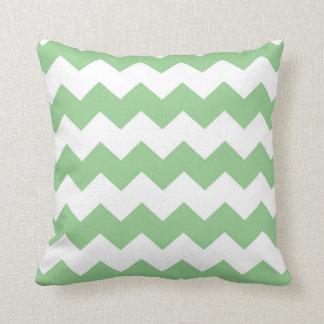 Pale Green / Granny Smith Apple Chevron Cushion