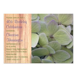 Pale Green Hydrangea Birthday Party Invitations