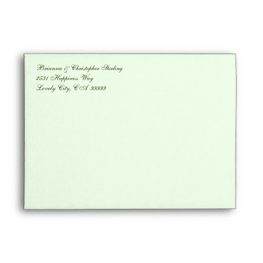 Pale Green Invitation Envelopes - Olive  Damask