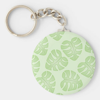 Pale Green Leaf Pattern. Key Chains