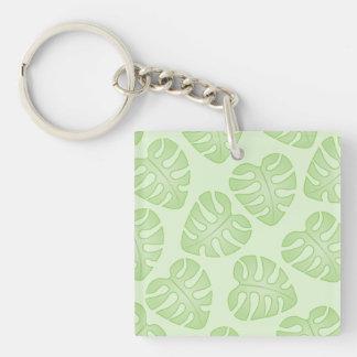 Pale Green Leaf Pattern. Acrylic Keychains
