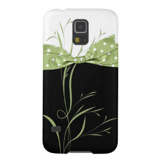Pale Green Polka Dot Ribbon Swirls on Black S5 Case For Galaxy S5