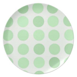 Pale Green Polka Dots Plate