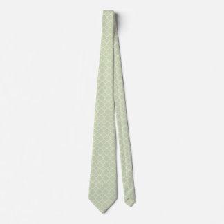 Pale Green Quadrefoil Double Sided Neck Tie